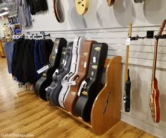 The Studio #Guitar Case Rack on display at Gruhn Guitars in Nashville. Learn more at: https://www.guitarstorage.com/guitar-case-storage-racks/