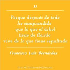"""""""Porque después de todo he comprendido  que lo que el árbol tiene de florido  vive de lo que tiene sepultado."""" Francisco Luis Bernárdez"""