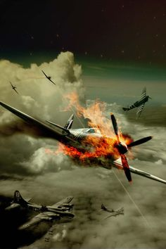 Dogfight by on DeviantArt Ww2 Aircraft, Fighter Aircraft, Military Aircraft, Fighter Jets, War Thunder, Aircraft Painting, Airplane Art, Ww2 Planes, Battle Of Britain