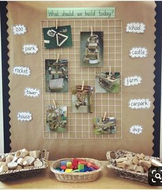 """What should we build today?"" Construction area interactive display with ideas and inspiration for the children to plan their designs. Reggio Classroom, Classroom Layout, New Classroom, Classroom Displays Eyfs, Maths Display, Interactive Display, Eyfs Activities, Nursery Activities, Construction Area Ideas"