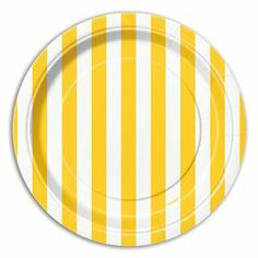 Sunflower Yellow Striped Dessert Plates 8ct - 324844 | Party-ify! #stripes #yellowstripes #partysupplues #dessertplates