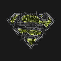 Superman logo - electronic look Superman Logo, Superman Tattoos, Supergirl Superman, Batman, Joker Clown, Superman Wallpaper, Super Cool Stuff, Joker And Harley Quinn, Raglan Tee