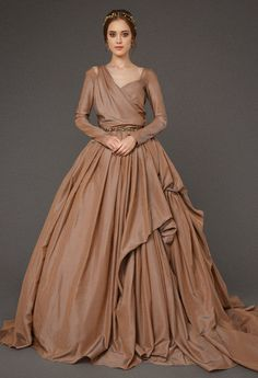 HESTIA   brown wedding dress made of rich tafetta, luxury ball dress  сhocolatу color with train, royal wedding dress with long sleeves a76a0cfb48