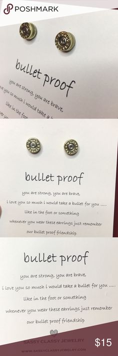 Bullet earrings studs casing slice gun edgy unique Casing bullet slice stud earrings. This is an edgy and unique pair of handcrafted stud earrings. Third picture is a of a client that is wearing a pair! Face covered for privacy boutique Jewelry Earrings