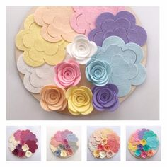 Best 12 Large roses flower packs Packs of 12 ~ 2 of each colour Large roses measure 1 in width when assembled together. Theses are cut from a merino blended wool felt. This felt is a blend of merino wool blended with rayon. All flowers are cu Felt Diy, Handmade Felt, Felt Crafts, Fabric Crafts, Diy And Crafts, Paper Crafts, All Flowers, Fabric Flowers, Paper Flowers