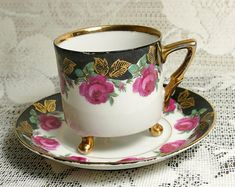 Vintage Three Footed Rose Garland Cup and Saucer, Rose Teacup, Teacup and Saucer, Vintage Teacup, Cup and Saucer, Pink Flower