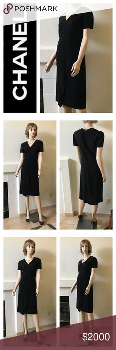 """CHANEL Boutique""""Little Black Dress"""" EUC Size 38 One of my Chanel dresses, unfortunately do not fit anymore. Timeless classic, made in France, wool, 💯% silk lining. Back zipper closure, short sleeves, pocket on the right side. Great as it is or with light sweater. Can look really different: from casual to evening. Original price was $6,800, bought in Paris, made in France. Excellent used condition. CHANEL Dresses Midi"""