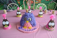 Owl cake of the day...smash cake III Purple! Love the party hats!
