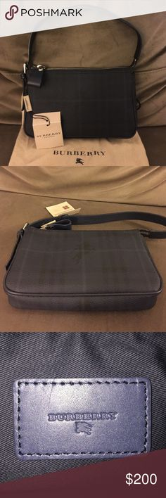 Burberry Nova Check Shoulder Bag - Brand New! Burberry Nova Check Shoulder Bag - Brand New!    This was given to me as a gift and I just never used it. The tag is still attached and the barcode which shows the price tag has been cut off. The bag is still stuffed with original tissue paper inside. Bag also comes with a dust bag  Color:  NAVY Measurements:  8.5 x 5 x 1.5 Burberry Bags Shoulder Bags