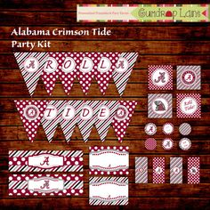 Alabama Crimson Tide Tailgate Party Kit INSTANT by GumdropLane, $7.00