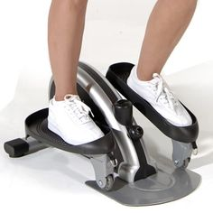 The Hideaway Elliptical Trainer - Hammacher Schlemmer  This is the compact elliptical trainer that provides the same lower leg motion as full-sized elliptical trainers but is small enough to slip under a bed or stow in a closet. The non-slip footpads provide stable footing as you move your feet forward or backward, forcing you to engage your abdominal muscles.