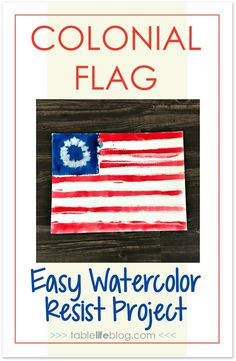 Looking for an art project to do while studying early American history with your kids? I've got a fun and easy colonial flag watercolor art project for you. History Activities, Teaching History, History Education, Art History, 13 Colonies Flag, American Flag Crafts, American Symbols, Social Studies Notebook, Colonial Art