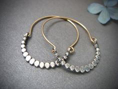 beaded minimalist ... mixed metal hoops by sirenjewels on Etsy