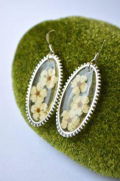 Flower Earrings - Drop Earrings - Resin Earrings - Nature Earrings - Transparent Earrings - Real Flower Jewelry by VitaliaKlubei on Etsy