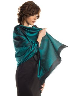 Fortuna-Double Face Silk Organzino Tulip Evening Shawl-Emerald