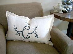 Custom Monogram on French Vintage Linen Pillow Cover