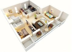 Denah Apartemen 3 Kamar Tidur Minimalis 3D 4 - 1 Kamar Mandi dan balkon cantik