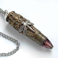 Flight of the Dragonfly - Bullet Jewelry - Extra Long Chain - Bullet Necklace. $48.00, via Etsy.
