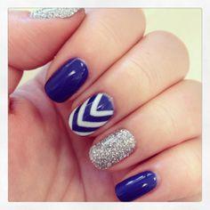 Ideas For Gel Manicure Designs Short Nails Pretty Fancy Nails, Diy Nails, Pretty Nails, Manicure Ideas, Gel Manicures, Nail Ideas, Blue Nails, Glitter Nails, Glitter Chevron