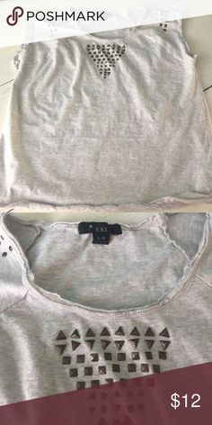 Studded tee Studded tee, sweatshirt/ comfy material. Worn a few times Forever 21 Tops Tees - Short Sleeve