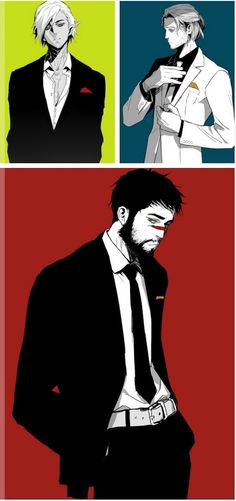 Fenris, Anders, and Hawke in suits by dadasaku.tumblr.com