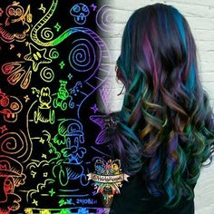 repost from Rainbow scratch art inspired, and of course Mario cart version because that' Pelo Multicolor, Arctic Fox Hair Color, Galaxy Hair, Fantasy Hair, Fantasy Makeup, Corte Y Color, Cool Hair Color, Oil Slick Hair Color, Mermaid Hair