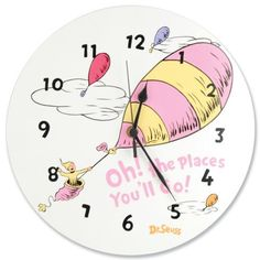 Dr Seuss Wall Decals: Trend Lab Dr.Seuss Wall Clock, Oh! The Places You'll Go Blue from Trend Lab. --------------  Get Dr Seuss Wall Decals at Amazon from Wall Decals Quotes Store