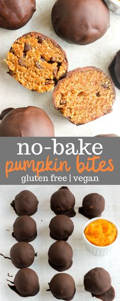 This no bake pumpkin bites recipe is easy to make and full of healthy ingredients like almond flour pumpkin puree and maple syrup. This recipe is also perfect for gluten-free and vegan eaters! Use paleo chocolate to make them suitable for the paleo diet. Pumpkin Bites Recipe, Pumpkin Puree Recipes, Pureed Food Recipes, Dessert Recipes, Vegan Recipes, Coconut Recipes Healthy, Healthy Pumpkin Recipes, Pizza Recipes, Gluten Free Pumpkin