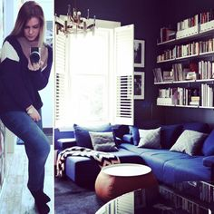 Today's #outfit - #knitted sweater from #fransa, jeans from #ginatricot. Today's #interior - a #cool #colored & #relaxing #livingroom #space. The #volume is #decorated with #various #decor & #modern #furniture & as can see the #area is #occupied to its #full #ability. Why talk in #riddles, #plz say it #straight  #interiorandfashion #fashion #inredning #design #style #looks