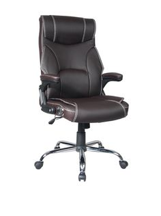 Techni Mobili High Back Reclining Executive Chair, Brown. This high back reclining executive chair is the ideal choice for the home or office; offering the best of both worlds, this dual designed office chair has the comfort of a recliner, stitched designed Techniflex upholstery, padded sides for added body support and a heavy duty steel chrome base with padded arms; chair will comfortably fit users up to 220 lbs.