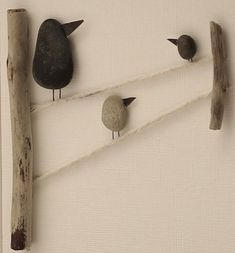 Kiesel Kunst Bild Vögel von PebbleartShop auf Etsy