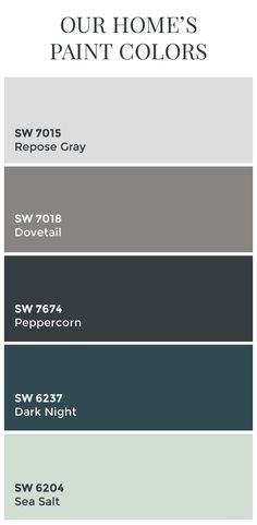 Paint Colors // Sherwin Williams Dovetail // Sherwin Williams Peppercorn // Sherwin Williams Dark Night // Sherwin Williams Sea Salt // Color Schemes // Home Color Ideas