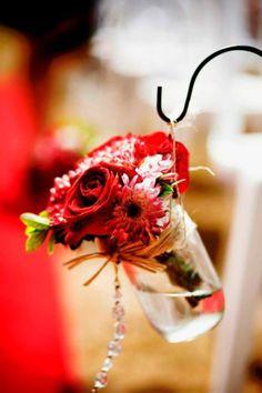 red rose hanging mason jar vases