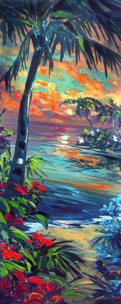 Moonlit Cove Steve Barton Fine Art Limited Edition Edition Size: 195 34 x 14 inches Hawaii Painting, Paradis Tropical, Polynesian Art, Caribbean Art, Hawaiian Art, Palmiers, Tropical Art, Surf Art, Beach Art