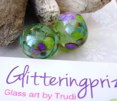 Lampwork Beads Enchanted Garden by GlitteringprizeGlass on Etsy (Craft Supplies & Tools, Jewelry & Beading Supplies, Beads, Donut & Ring Beads, sra lampwork beads, jewellery making, jewelery making, craft supplies, beads lampwork, st patrick, irish lucky, enchanted garden, purple, glass lampwork beads, green beads, glass beads, per bead)