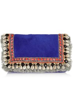MATTHEW WILLIAMSON Embellished fringed suede clutch
