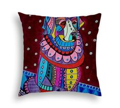 Great Pryenees Pillow Dog Lover Animal Folk Art throw Pillow by Heather Galler - 5 Sizes to choose from