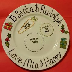 Santa and Rudolph plate   https://www.etsy.com/listing/210280890/personalised-santa-plates-can-add-up-to