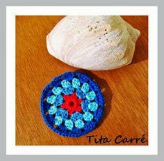 'Tita Carre' Tita Carré - Agulha e Tricot : Círculo em crochet Azul da Cor do Mar