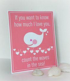 Whale nursery decor inspirational quote  love by MagicMarkingsArt, $16.00