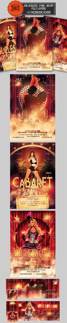Burlesque and Cabaret Flyer Bundle — PSD Template #live show #Burlesque Flyer Bundle • Download ➝ https://graphicriver.net/item/burlesque-and-cabaret-flyer-bundle/18176067?ref=pxcr