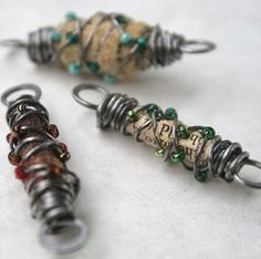 wire wrapped beads- words and fiber- my favorite things.  I now know what to do with my favorite blouse, my fathers shirt...a treasured coat. 21links