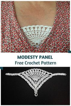 Crochet Edging Clever Crochet Modesty Panel Pattern - What a fantastic idea! Say bye to having to use a tank top or other layer. This crochet modesty panel pattern is really fabulous! Col Crochet, Crochet Motifs, Crochet Blouse, Thread Crochet, Crochet Gifts, Crochet Stitches, Crochet Baby, Free Crochet, Crochet Triangle
