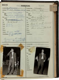 This page shows Danny in scenes 148 and 149. The additional wardrobe items listed here include coat, tie, belt and jewelry. There are over 20 never-before-seen, small, black and white photographs of Elvis in costume glued or taped to the individual pages. The pre-auction estimate was $6,000 and up. Obviously, well-healed Elvis collectors found it to be worth way more than that. (King Creole movie)