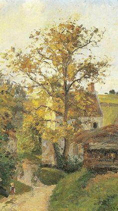 """Camille Pissarro (1830-1903) ~ """"Pontoise, La Maison Rondest, Quartier de l'Hermitage"""" (Détail)"""