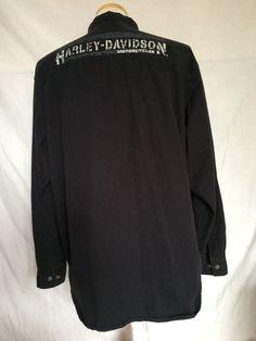 Harley-Davidson Motorcycles Shirt Size XL Black Long Sleeves Men's #HarleyDavidson #ButtonDown