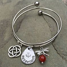 Sassenach Bangle Bracelet with Dragonfly and Amber Bead/Celtic Knot Outlander Inspired