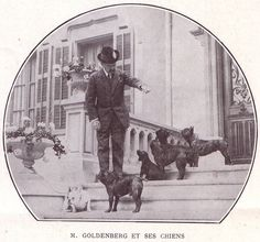 M. Goldenberg, et ses Chiens, (with his French Bulldogs), vintage photo