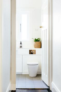All white bathroom design.