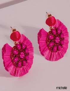 Fancy Jewellery, Thread Jewellery, Lace Jewelry, Fabric Jewelry, Bridal Jewelry, Quilling Earrings, Pink Earrings, Clay Earrings, Crochet Earrings